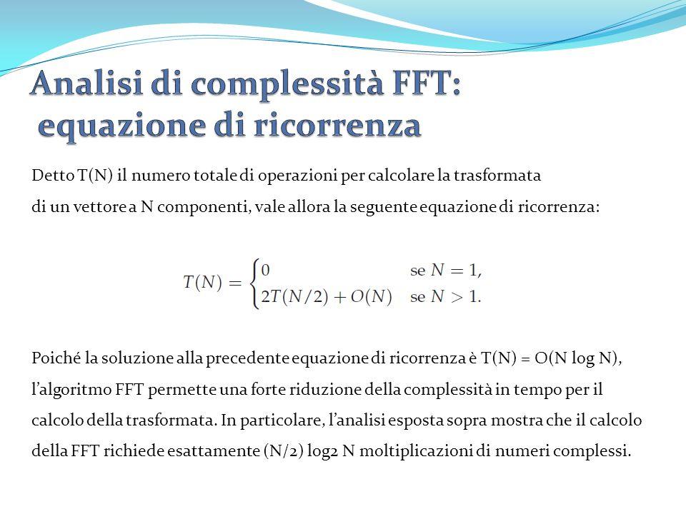 Detto T(N) il numero totale di operazioni per calcolare la trasformata di un vettore a N componenti, vale allora la seguente equazione di ricorrenza: