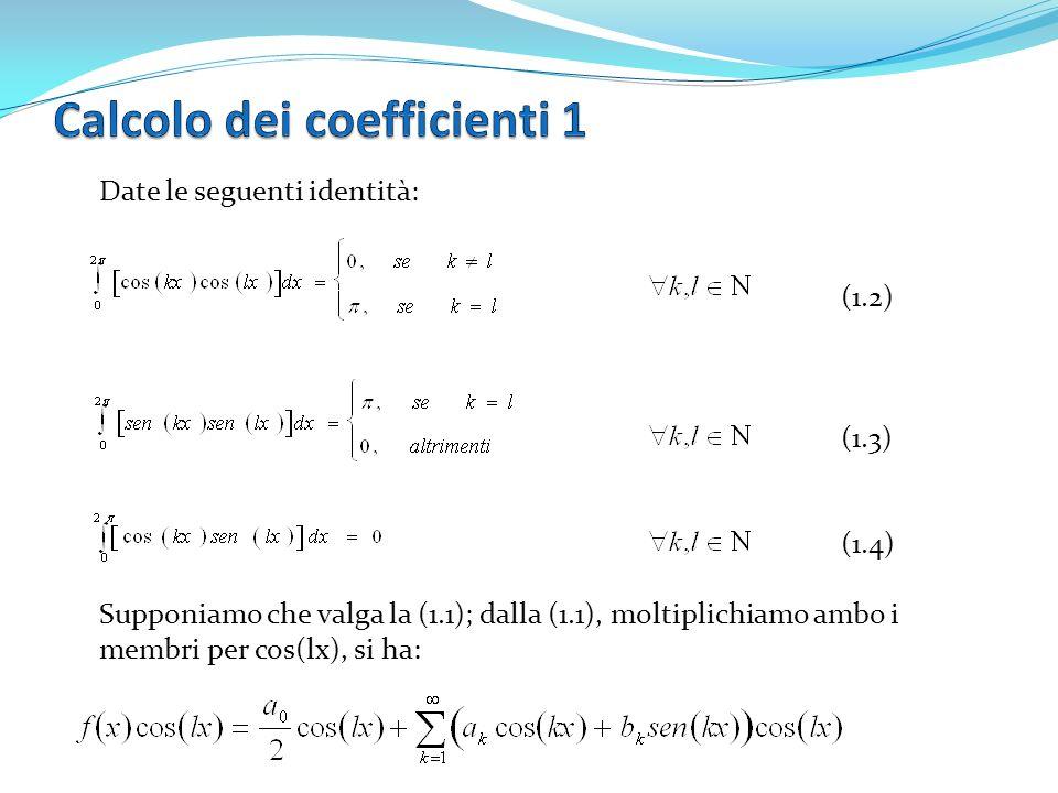 Date le seguenti identità: (1.2) (1.3) (1.4) Supponiamo che valga la (1.1); dalla (1.1), moltiplichiamo ambo i membri per cos(lx), si ha:
