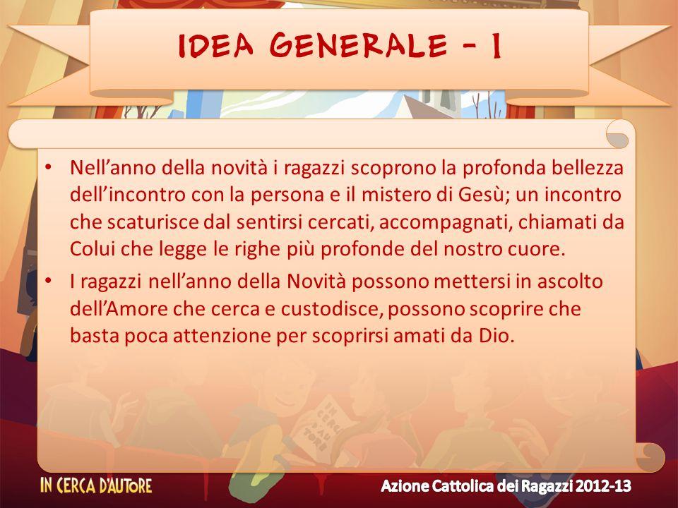 IDEA GENERALE - 1 Nellanno della novità i ragazzi scoprono la profonda bellezza dellincontro con la persona e il mistero di Gesù; un incontro che scat