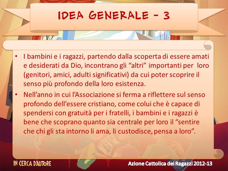 IDEA GENERALE - 3 I bambini e i ragazzi, partendo dalla scoperta di essere amati e desiderati da Dio, incontrano gli altri importanti per loro (genito