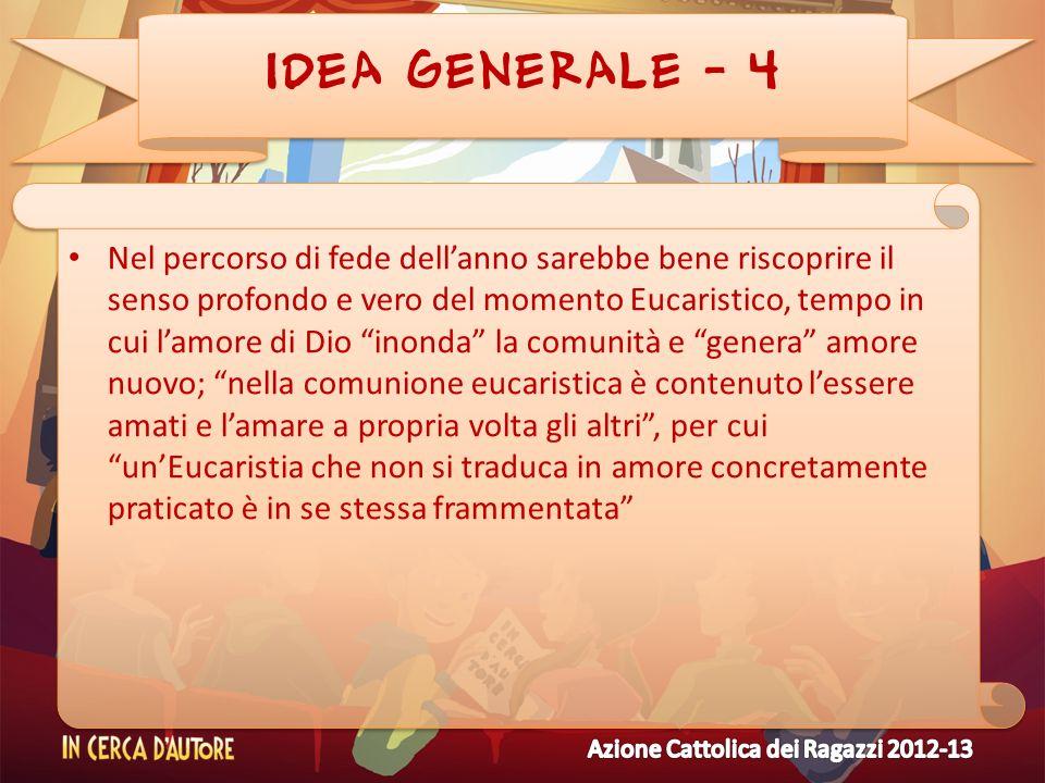 IDEA GENERALE - 4 Nel percorso di fede dellanno sarebbe bene riscoprire il senso profondo e vero del momento Eucaristico, tempo in cui lamore di Dio i