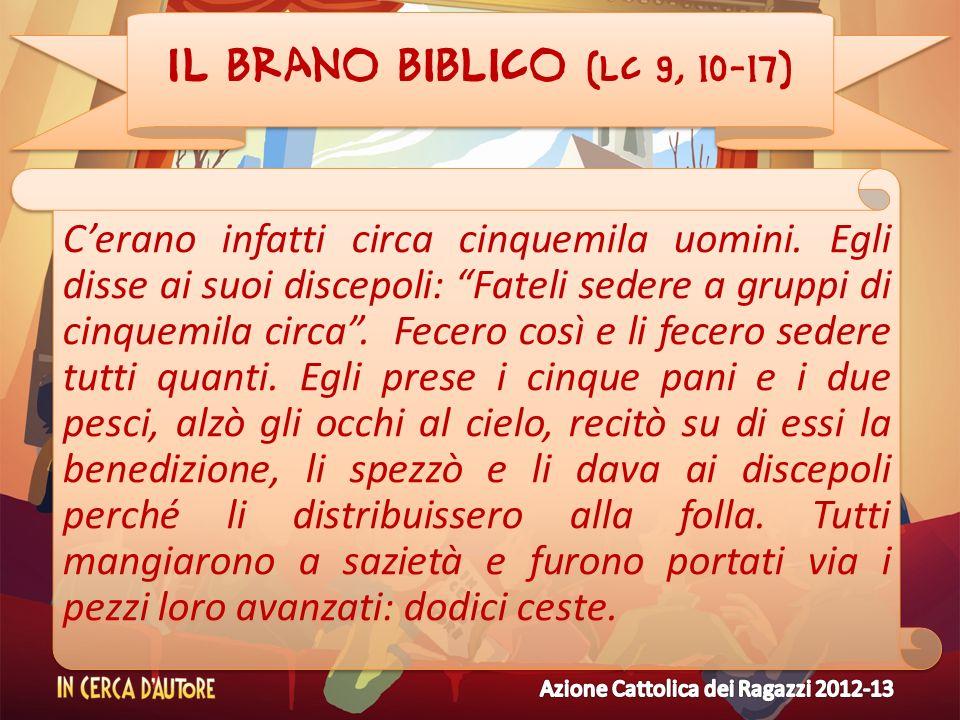 Il brano biblico (Lc 9, 10-17) Cerano infatti circa cinquemila uomini. Egli disse ai suoi discepoli: Fateli sedere a gruppi di cinquemila circa. Fecer