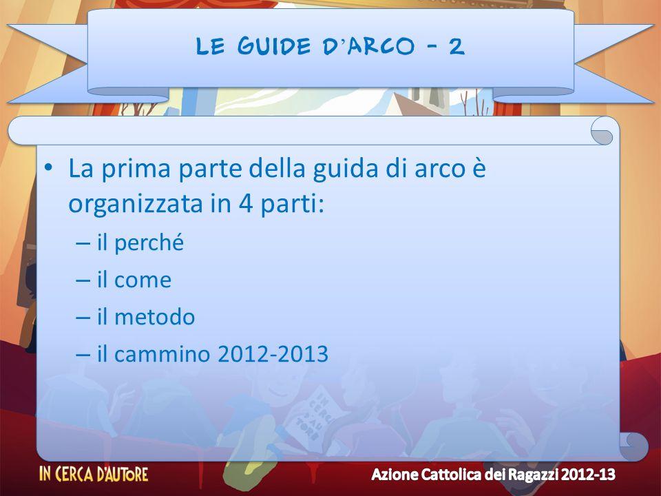 LE GUIDE D ARCO - 2 La prima parte della guida di arco è organizzata in 4 parti: – il perché – il come – il metodo – il cammino 2012-2013 La prima par