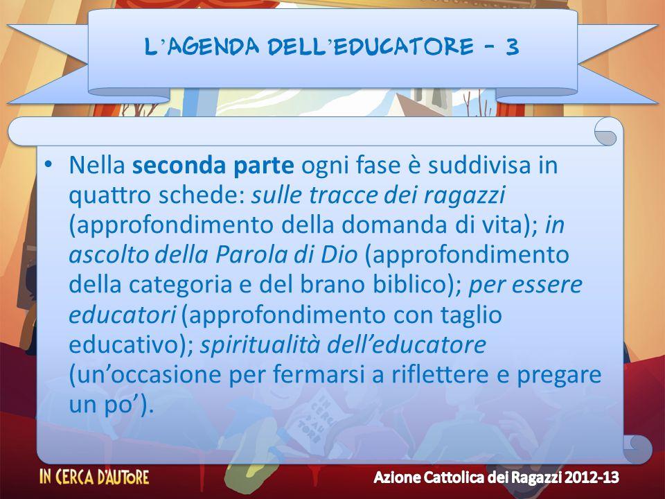 L agenda dell educatore - 3 Nella seconda parte ogni fase è suddivisa in quattro schede: sulle tracce dei ragazzi (approfondimento della domanda di vi
