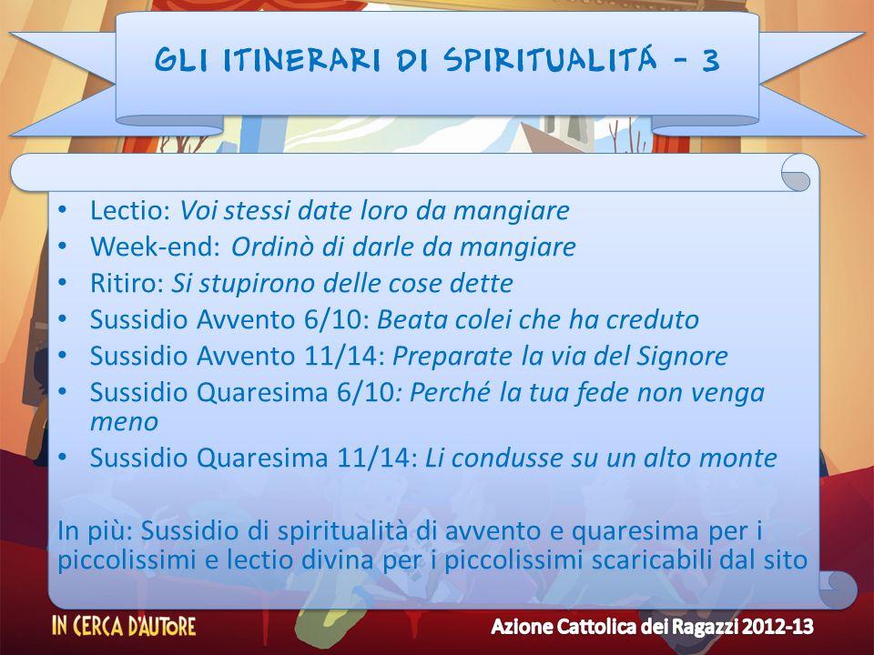 GLI ITINERARI DI SPIRITUALITÁ - 3 Lectio: Voi stessi date loro da mangiare Week-end: Ordinò di darle da mangiare Ritiro: Si stupirono delle cose dette