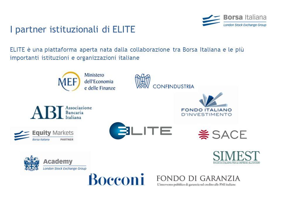 ELITE è una piattaforma aperta nata dalla collaborazione tra Borsa Italiana e le più importanti istituzioni e organizzazioni italiane I partner istituzionali di ELITE