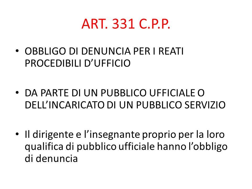 ART. 331 C.P.P. OBBLIGO DI DENUNCIA PER I REATI PROCEDIBILI DUFFICIO DA PARTE DI UN PUBBLICO UFFICIALE O DELLINCARICATO DI UN PUBBLICO SERVIZIO Il dir