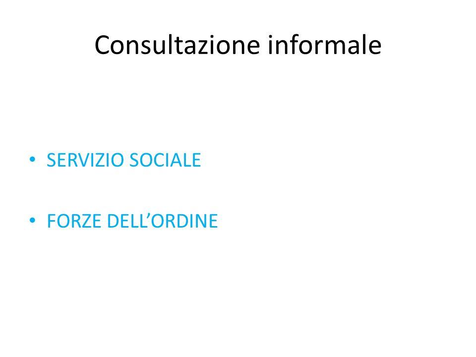 Consultazione informale SERVIZIO SOCIALE FORZE DELLORDINE