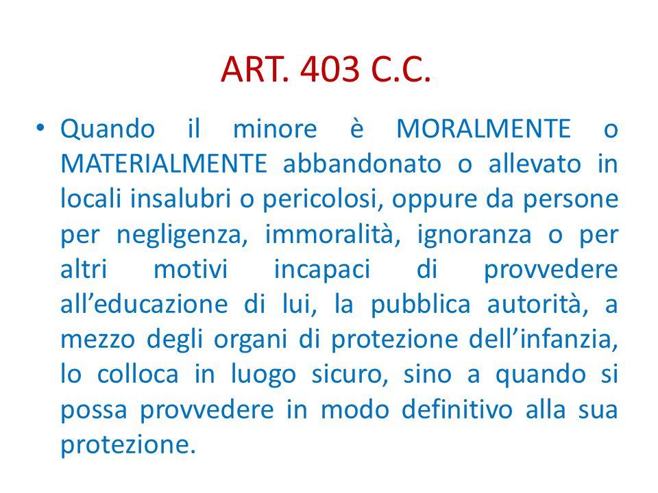 ART. 403 C.C. Quando il minore è MORALMENTE o MATERIALMENTE abbandonato o allevato in locali insalubri o pericolosi, oppure da persone per negligenza,