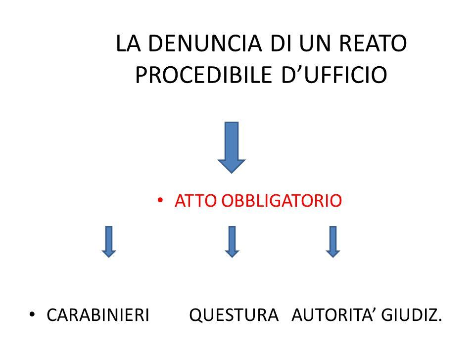 LA DENUNCIA DI UN REATO PROCEDIBILE DUFFICIO ATTO OBBLIGATORIO CARABINIERI QUESTURA AUTORITA GIUDIZ.