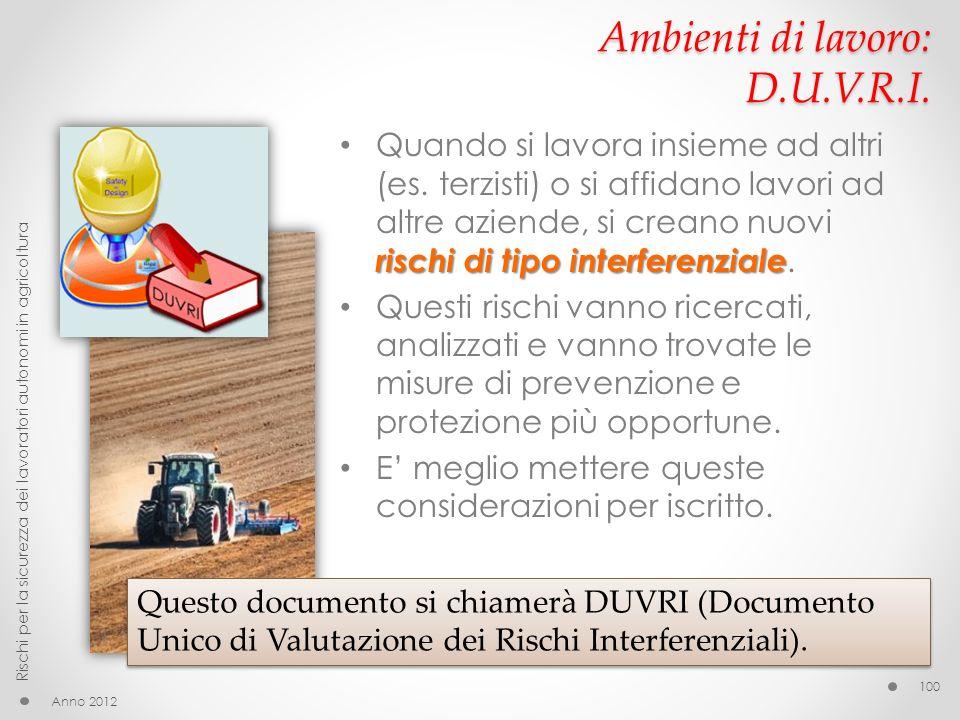 Ambienti di lavoro: D.U.V.R.I. rischi di tipo interferenziale Quando si lavora insieme ad altri (es. terzisti) o si affidano lavori ad altre aziende,