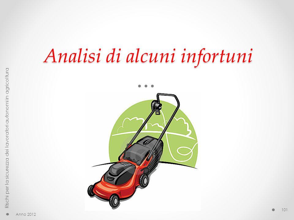 Analisi di alcuni infortuni Anno 2012 Rischi per la sicurezza dei lavoratori autonomi in agricoltura 101