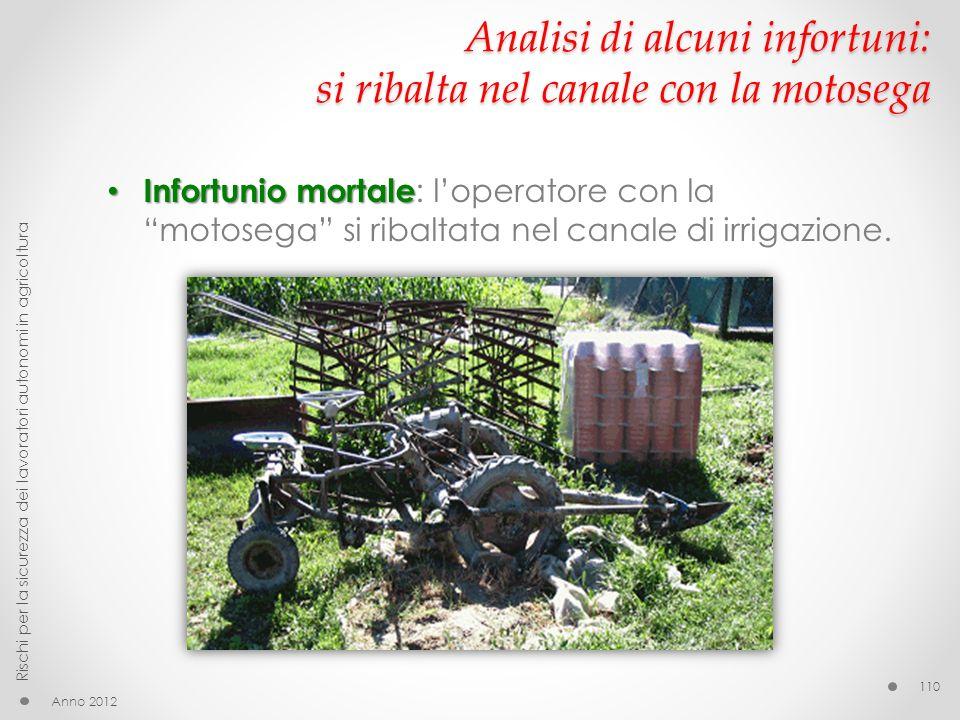 Analisi di alcuni infortuni: si ribalta nel canale con la motosega Infortunio mortale Infortunio mortale : loperatore con la motosega si ribaltata nel canale di irrigazione.