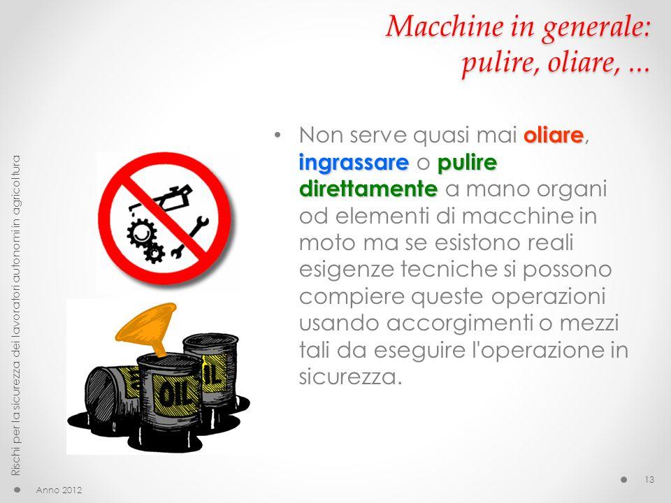 Macchine in generale: pulire, oliare,... oliare ingrassarepulire direttamente Non serve quasi mai oliare, ingrassare o pulire direttamente a mano orga