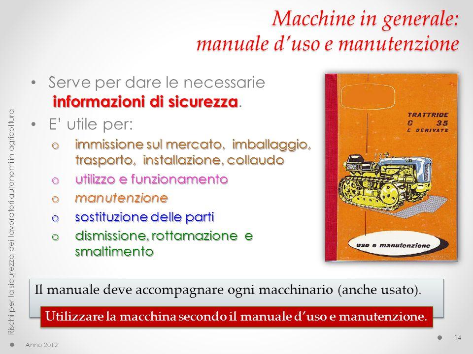 Macchine in generale: manuale duso e manutenzione informazioni di sicurezza Serve per dare le necessarie informazioni di sicurezza. E utile per: o imm