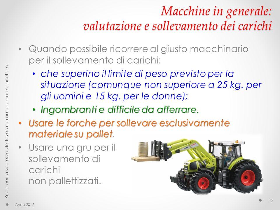 Macchine in generale: valutazione e sollevamento dei carichi Quando possibile ricorrere al giusto macchinario per il sollevamento di carichi: che superino il limite di peso previsto per la situazione (comunque non superiore a 25 kg.