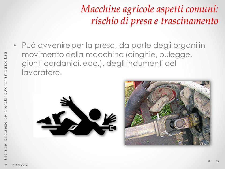 Macchine agricole aspetti comuni: rischio di presa e trascinamento Può avvenire per la presa, da parte degli organi in movimento della macchina (cinghie, pulegge, giunti cardanici, ecc.), degli indumenti del lavoratore.