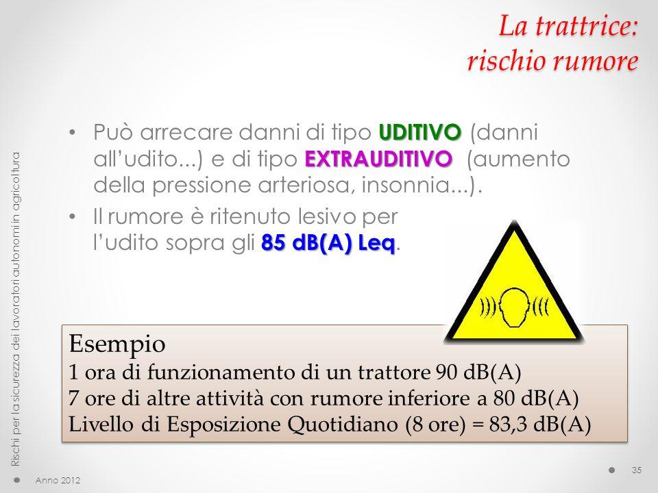 La trattrice: rischio rumore UDITIVO EXTRAUDITIVO Può arrecare danni di tipo UDITIVO (danni alludito...) e di tipo EXTRAUDITIVO (aumento della pressione arteriosa, insonnia...).