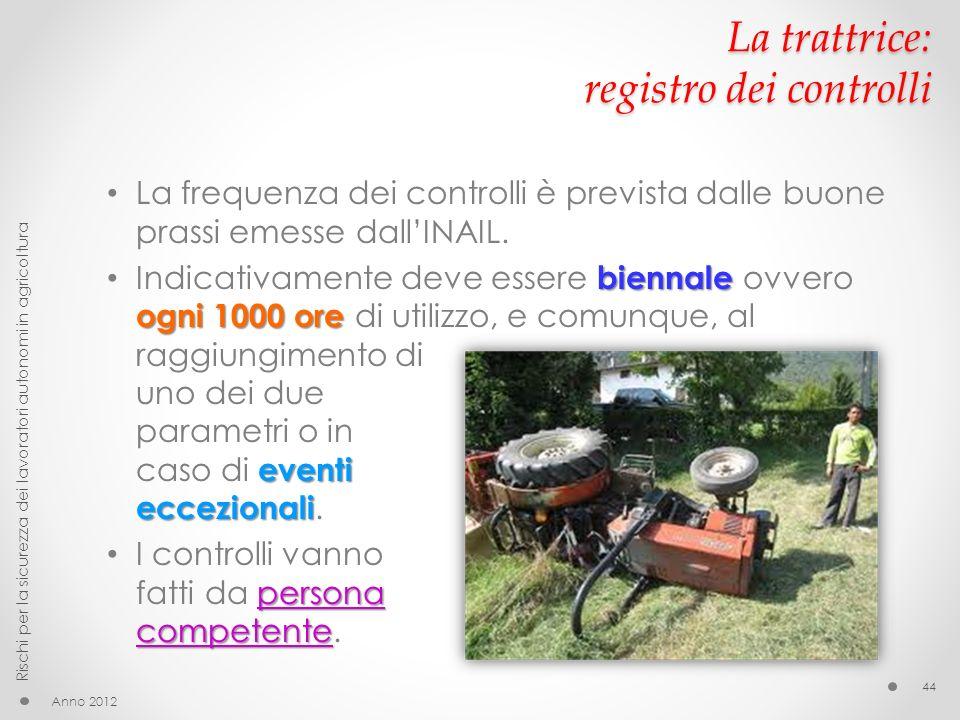 La trattrice: registro dei controlli La frequenza dei controlli è prevista dalle buone prassi emesse dallINAIL. biennale ogni 1000 ore eventi eccezion