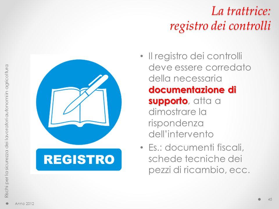 La trattrice: registro dei controlli documentazione di supporto Il registro dei controlli deve essere corredato della necessaria documentazione di sup