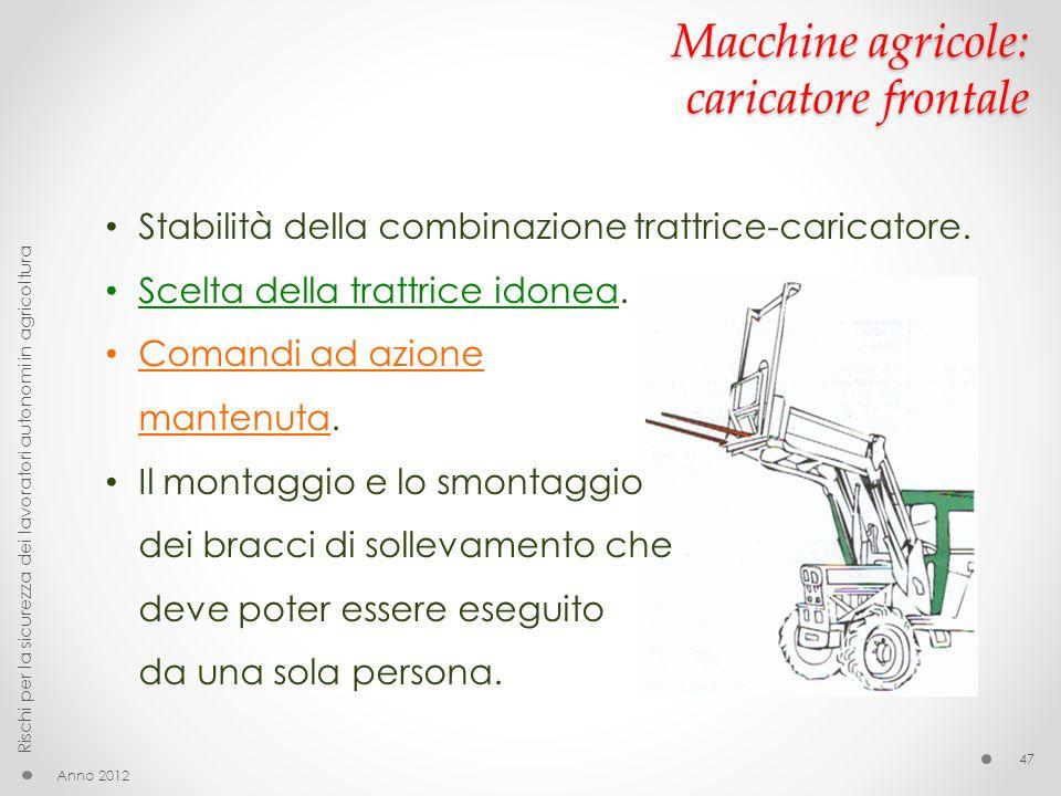 Macchine agricole: caricatore frontale Stabilità della combinazione trattrice-caricatore. Scelta della trattrice idonea. Comandi ad azione mantenuta.
