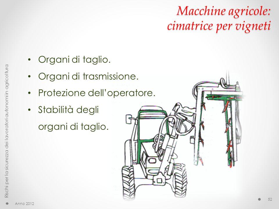 Macchine agricole: cimatrice per vigneti Organi di taglio. Organi di trasmissione. Protezione delloperatore. Stabilità degli organi di taglio. Anno 20