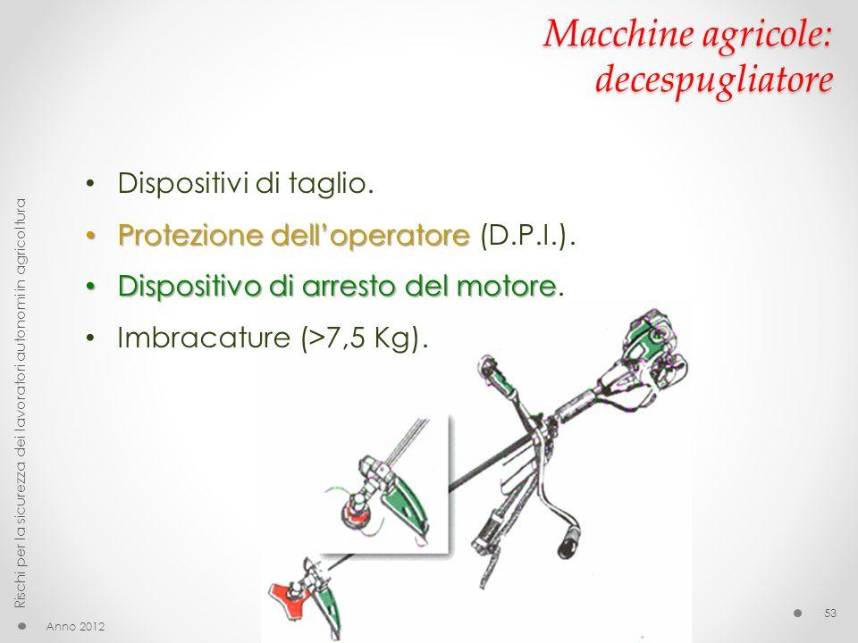 Macchine agricole: decespugliatore Dispositivi di taglio. Protezione delloperatore Protezione delloperatore (D.P.I.). Dispositivo di arresto del motor