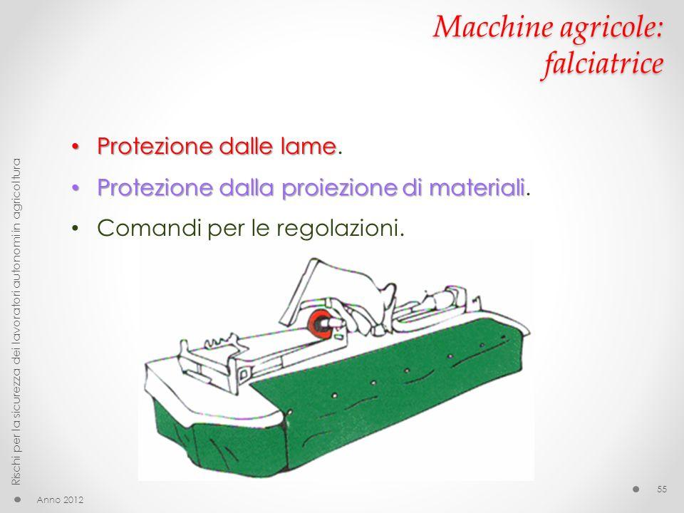 Macchine agricole: falciatrice Anno 2012 Rischi per la sicurezza dei lavoratori autonomi in agricoltura 55 Protezione dalle lame Protezione dalle lame.