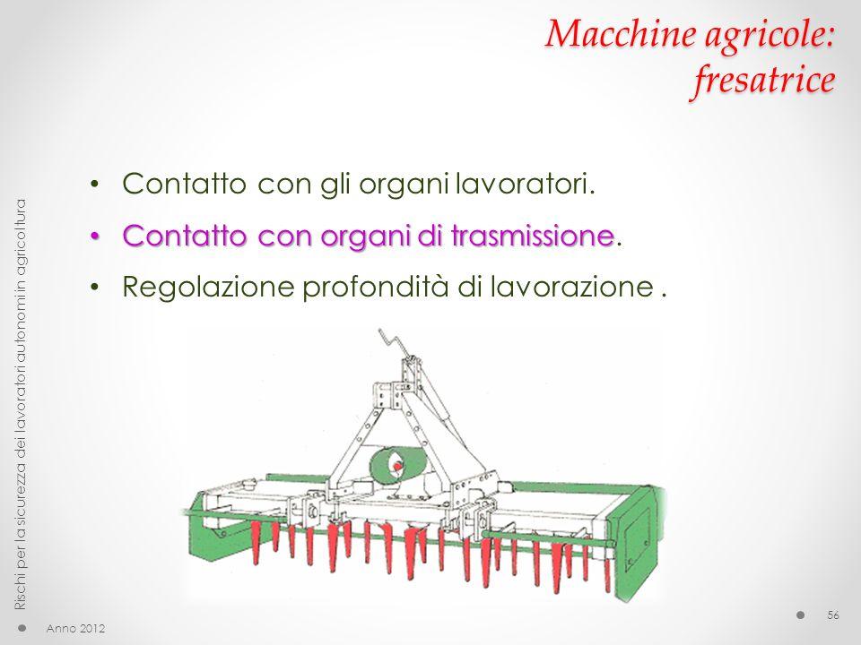 Macchine agricole: fresatrice Anno 2012 Rischi per la sicurezza dei lavoratori autonomi in agricoltura 56 Contatto con gli organi lavoratori. Contatto