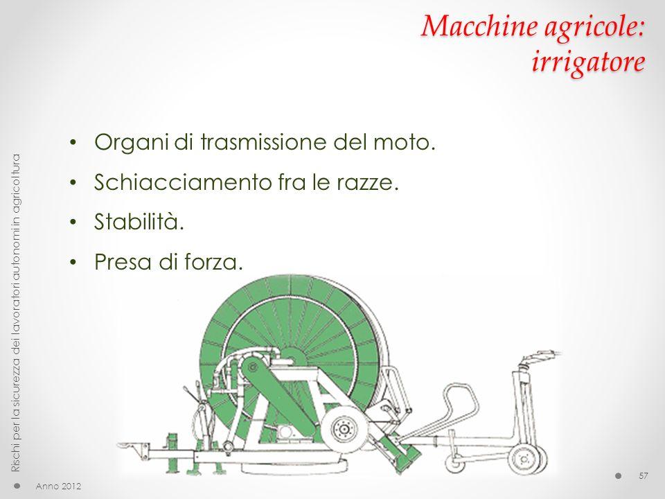 Macchine agricole: irrigatore Anno 2012 Rischi per la sicurezza dei lavoratori autonomi in agricoltura 57 Organi di trasmissione del moto. Schiacciame