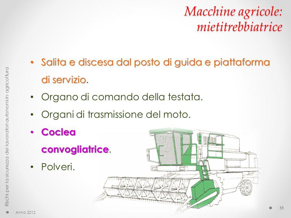 Macchine agricole: mietitrebbiatrice Anno 2012 Rischi per la sicurezza dei lavoratori autonomi in agricoltura 58 Salita e discesa dal posto di guida e
