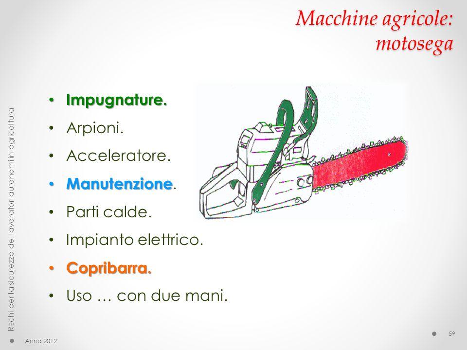 Macchine agricole: motosega Anno 2012 Rischi per la sicurezza dei lavoratori autonomi in agricoltura 59 Impugnature. Impugnature. Arpioni. Accelerator