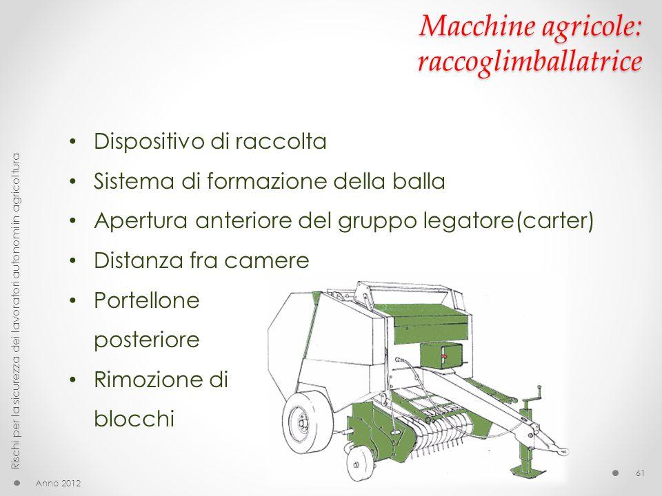 Macchine agricole: raccoglimballatrice Anno 2012 Rischi per la sicurezza dei lavoratori autonomi in agricoltura 61 Dispositivo di raccolta Sistema di
