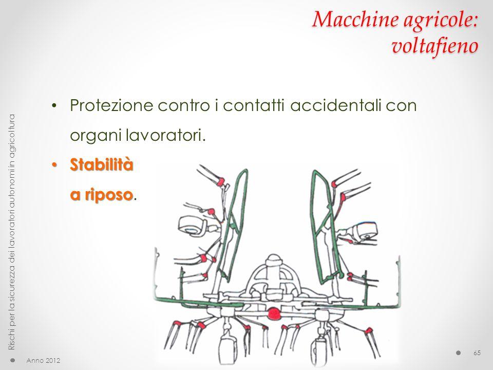 Macchine agricole: voltafieno Anno 2012 Rischi per la sicurezza dei lavoratori autonomi in agricoltura 65 Protezione contro i contatti accidentali con organi lavoratori.