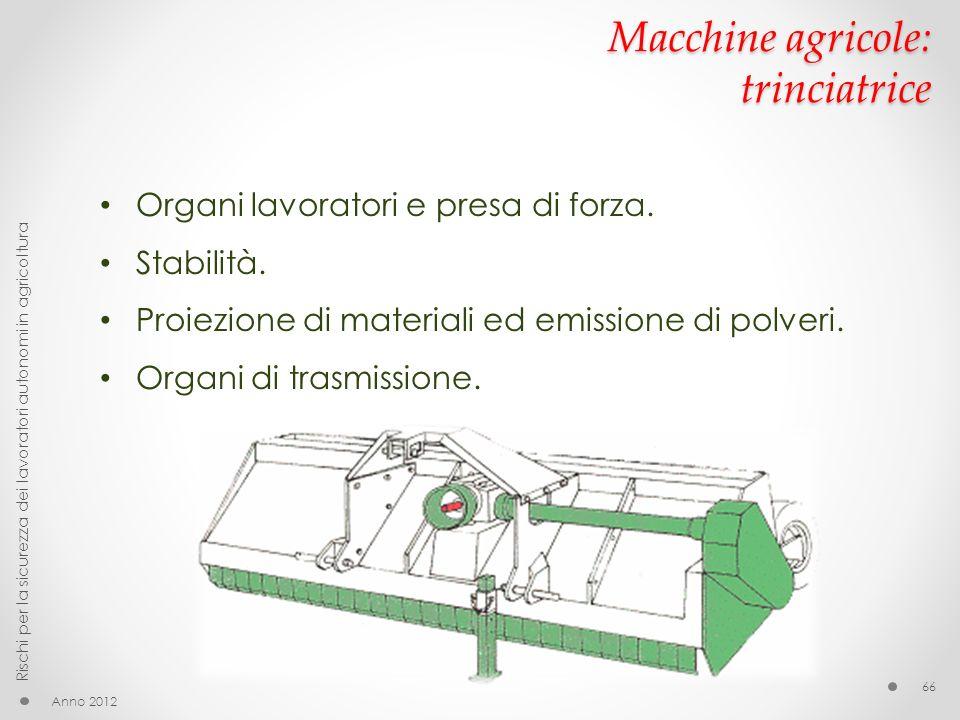 Macchine agricole: trinciatrice Anno 2012 Rischi per la sicurezza dei lavoratori autonomi in agricoltura 66 Organi lavoratori e presa di forza.