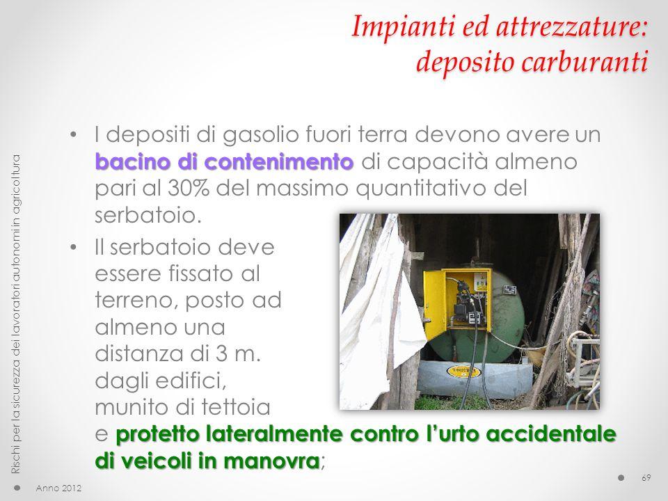 Impianti ed attrezzature: deposito carburanti Anno 2012 Rischi per la sicurezza dei lavoratori autonomi in agricoltura 69 bacino di contenimento I dep