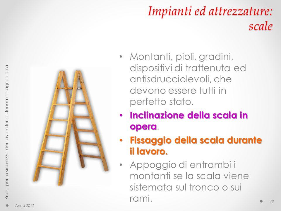 Impianti ed attrezzature: scale Anno 2012 Rischi per la sicurezza dei lavoratori autonomi in agricoltura 70 Montanti, pioli, gradini, dispositivi di t