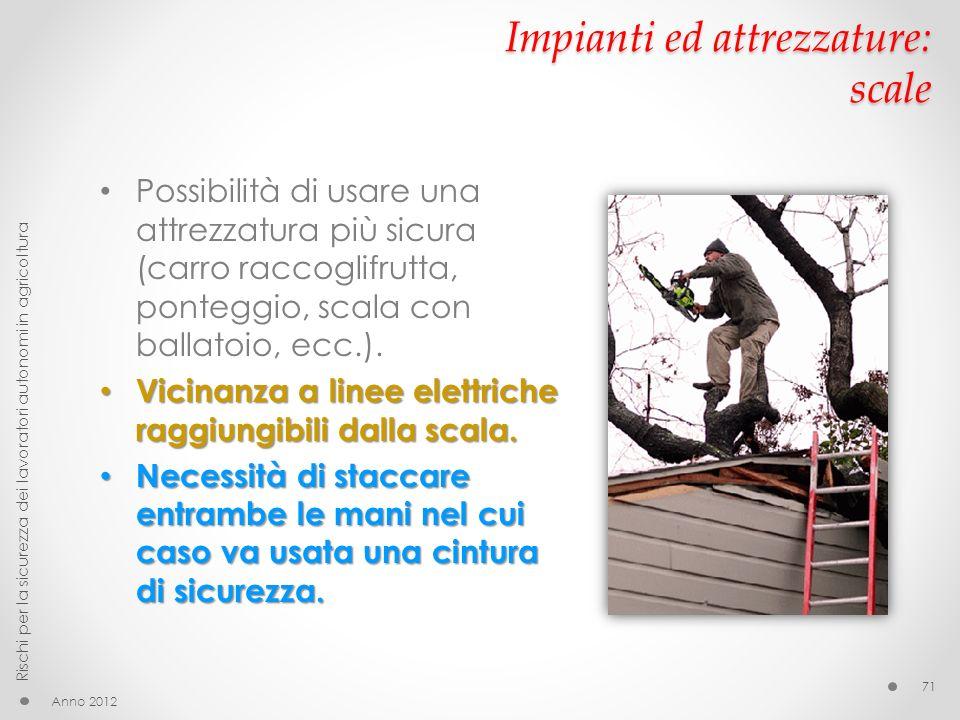 Impianti ed attrezzature: scale Anno 2012 Rischi per la sicurezza dei lavoratori autonomi in agricoltura 71 Possibilità di usare una attrezzatura più