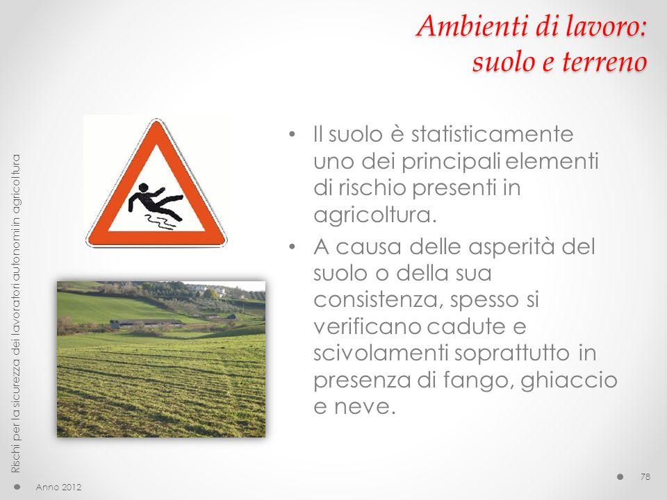 Ambienti di lavoro: suolo e terreno Il suolo è statisticamente uno dei principali elementi di rischio presenti in agricoltura. A causa delle asperità