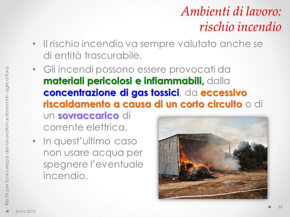 Ambienti di lavoro: rischio incendio Il rischio incendio va sempre valutato anche se di entità trascurabile. materiali pericolosi e infiammabili, conc