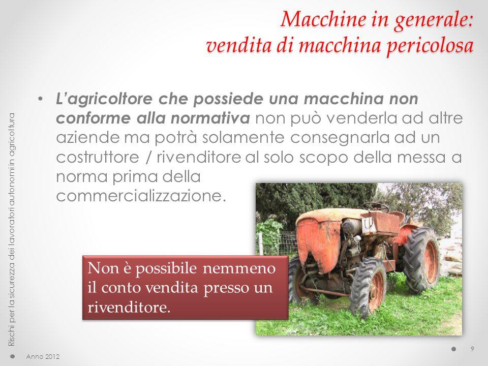 Macchine agricole: pigiadiraspatrice Anno 2012 Rischi per la sicurezza dei lavoratori autonomi in agricoltura 60 Organi di trasmissione del moto Coclea Protezioni fisse Comando della macchina