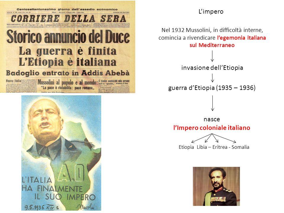 Limpero Nel 1932 Mussolini, in difficoltà interne, comincia a rivendicare legemonia italiana sul Mediterraneo invasione dellEtiopia guerra dEtiopia (1