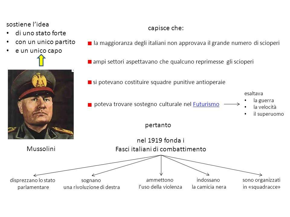 Mussolini capisce che: la maggioranza degli italiani non approvava il grande numero di scioperi poteva trovare sostegno culturale nel FuturismoFuturis