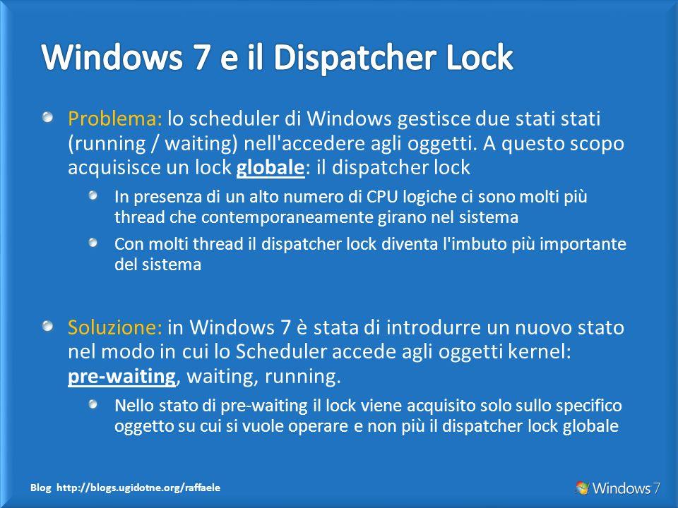 Blog http://blogs.ugidotne.org/raffaele Problema: lo scheduler di Windows gestisce due stati stati (running / waiting) nell accedere agli oggetti.