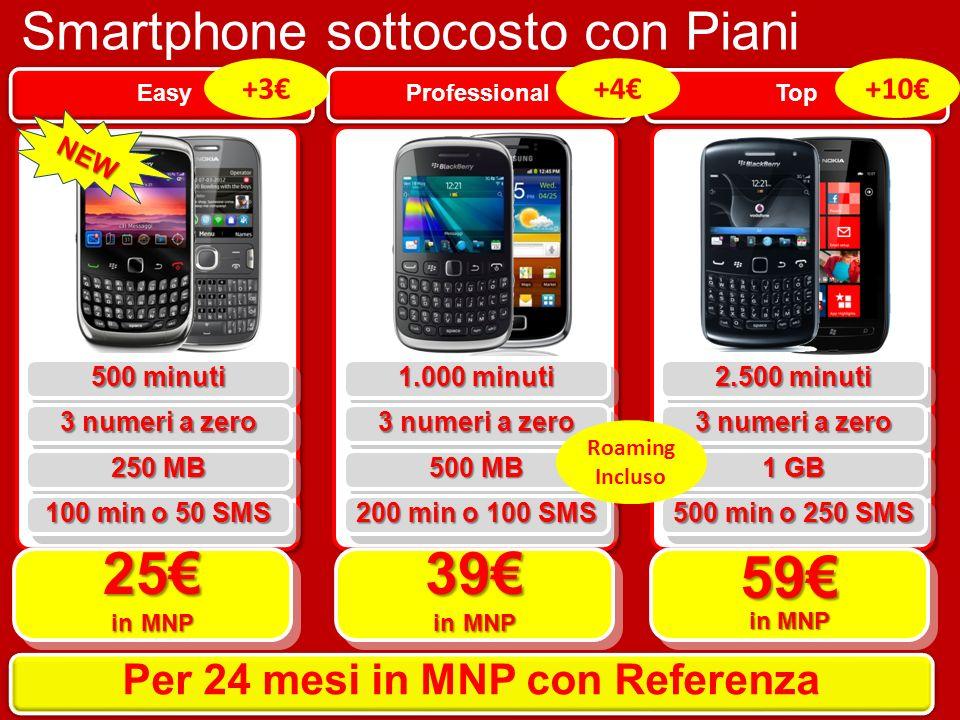 Smartphone sottocosto con Piani Smart Top Professional Easy 500 minuti 25 in MNP 39 in MNP 59 in MNP Per 24 mesi in MNP con Referenza 3 numeri a zero 250 MB 100 min o 50 SMS 1.000 minuti 3 numeri a zero 500 MB 200 min o 100 SMS 2.500 minuti 3 numeri a zero 1 GB 500 min o 250 SMS Roaming Incluso NEW +10+4+3