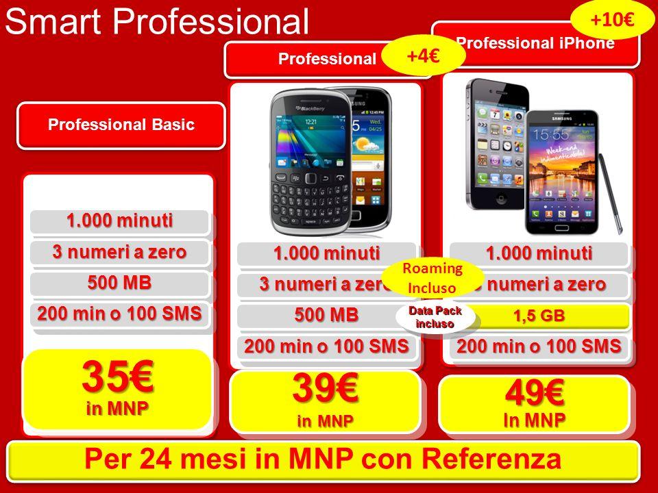 Professional Basic 35 in MNP 1.000 minuti 3 numeri a zero 500 MB 200 min o 100 SMS Per 24 mesi in MNP con Referenza Professional 39 in MNP 1.000 minut