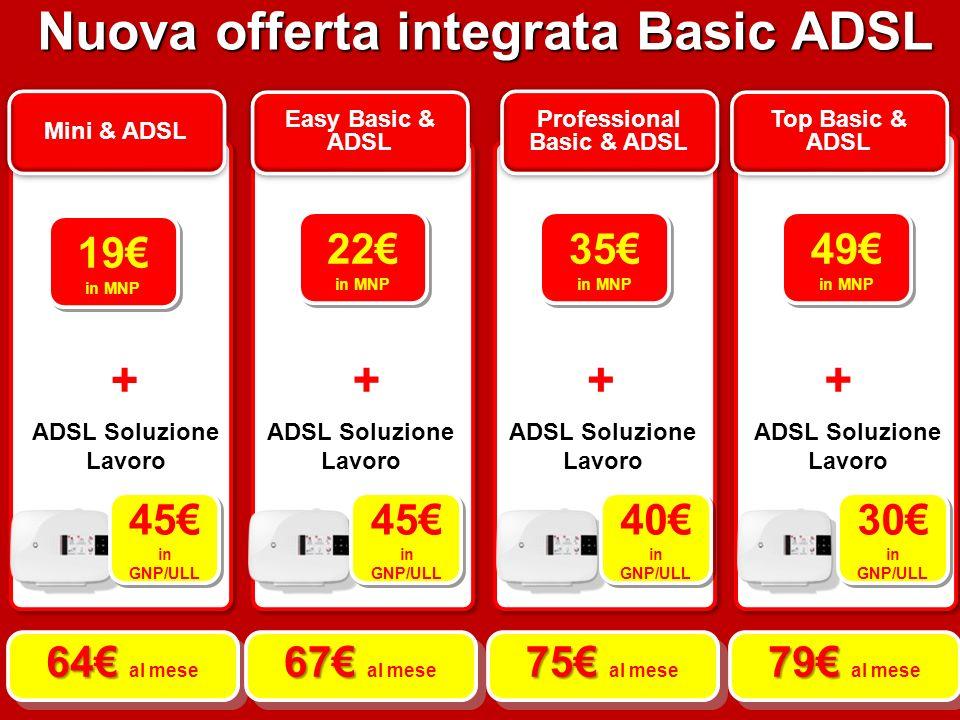 Mini & ADSL Easy Basic & ADSL Professional Basic & ADSL Top Basic & ADSL 22 in MNP 22 in MNP 35 in MNP 35 in MNP 49 in MNP 49 in MNP + +++ ADSL Soluzione Lavoro 45 in GNP/ULL 45 in GNP/ULL 45 in GNP/ULL 45 in GNP/ULL 40 in GNP/ULL 40 in GNP/ULL 30 in GNP/ULL 30 in GNP/ULL 64 64 al mese 67 67 al mese 75 75 al mese 79 79 al mese Nuova offerta integrata Basic ADSL 19 in MNP 19 in MNP