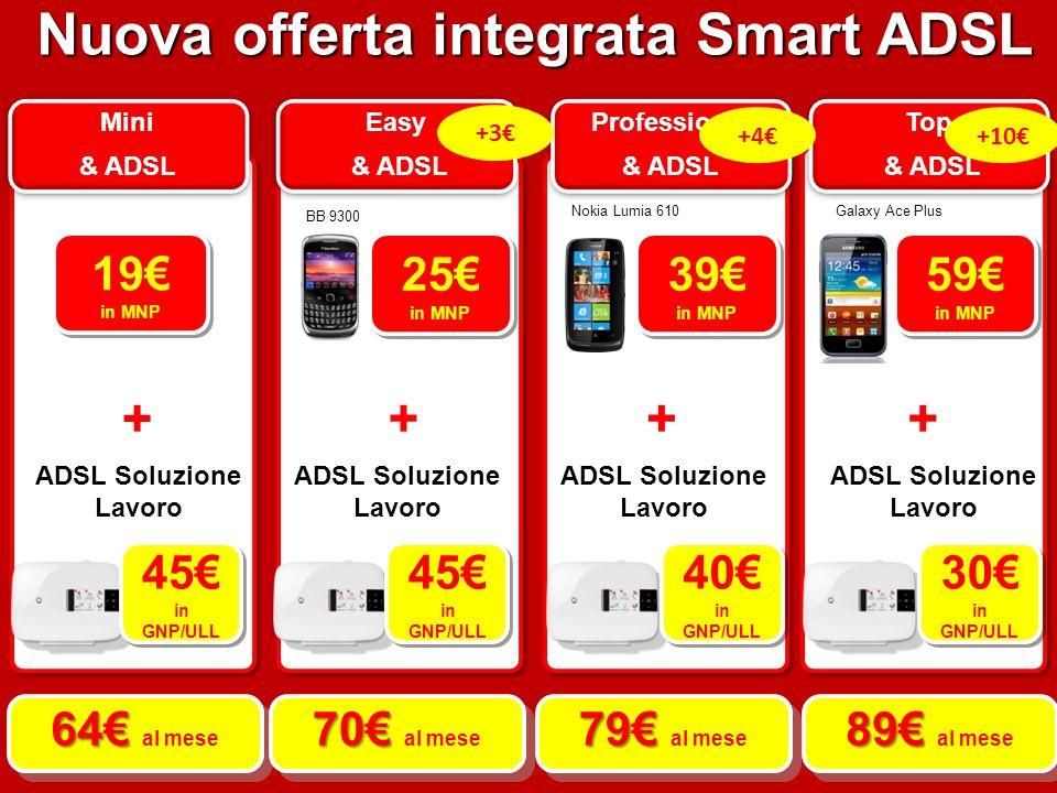 Mini & ADSL Mini & ADSL Easy & ADSL Easy & ADSL Professional & ADSL Professional & ADSL Top & ADSL Top & ADSL BB 9300 Nokia Lumia 610Galaxy Ace Plus 25 in MNP 25 in MNP 39 in MNP 39 in MNP 59 in MNP 59 in MNP 19 in MNP 19 in MNP + +++ ADSL Soluzione Lavoro 45 in GNP/ULL 45 in GNP/ULL 45 in GNP/ULL 45 in GNP/ULL 40 in GNP/ULL 40 in GNP/ULL 30 in GNP/ULL 30 in GNP/ULL 64 64 al mese 70 70 al mese 79 79 al mese 89 89 al mese Nuova offerta integrata Smart ADSL +10+4 +3
