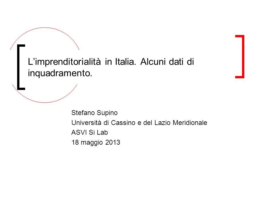 Stefano Supino Università di Cassino e del Lazio Meridionale ASVI Si Lab 18 maggio 2013 Limprenditorialità in Italia. Alcuni dati di inquadramento.