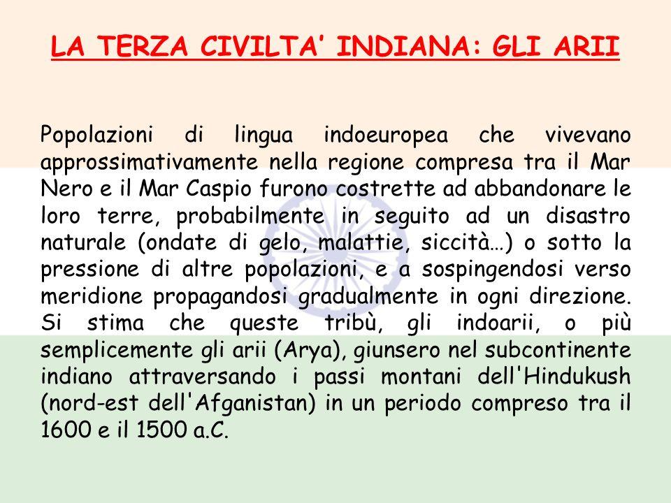 LA TERZA CIVILTA INDIANA: GLI ARII Popolazioni di lingua indoeuropea che vivevano approssimativamente nella regione compresa tra il Mar Nero e il Mar
